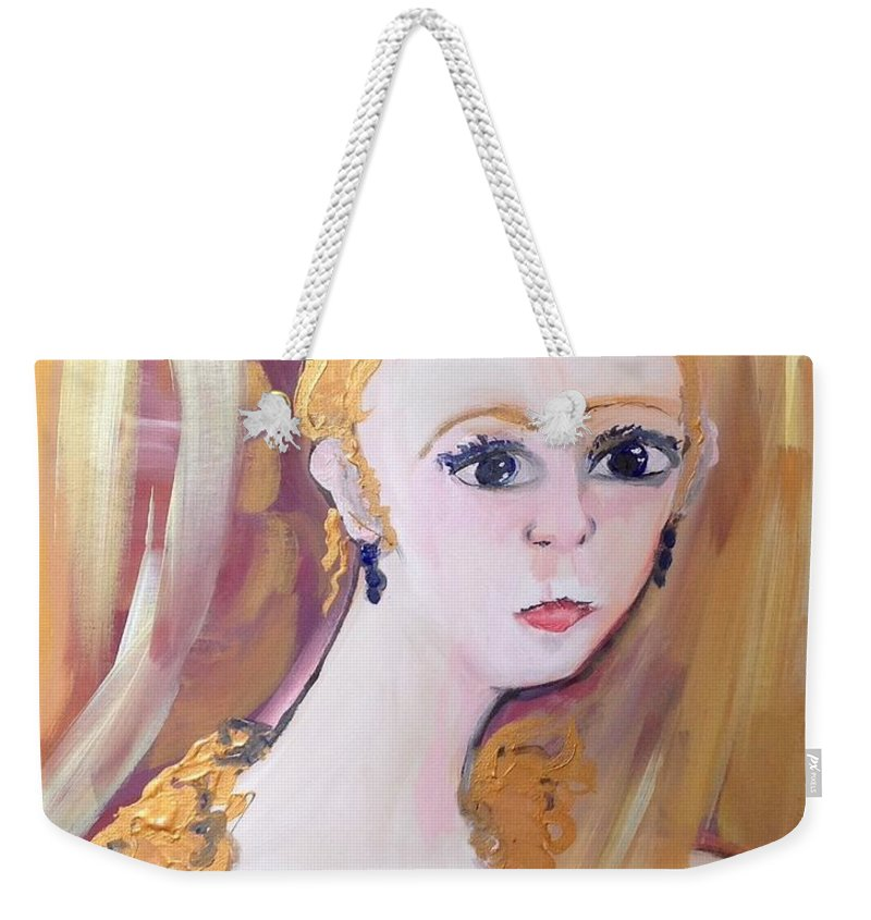 Thought Weekender Tote Bag featuring the painting Deep In Thought by Judith Desrosiers