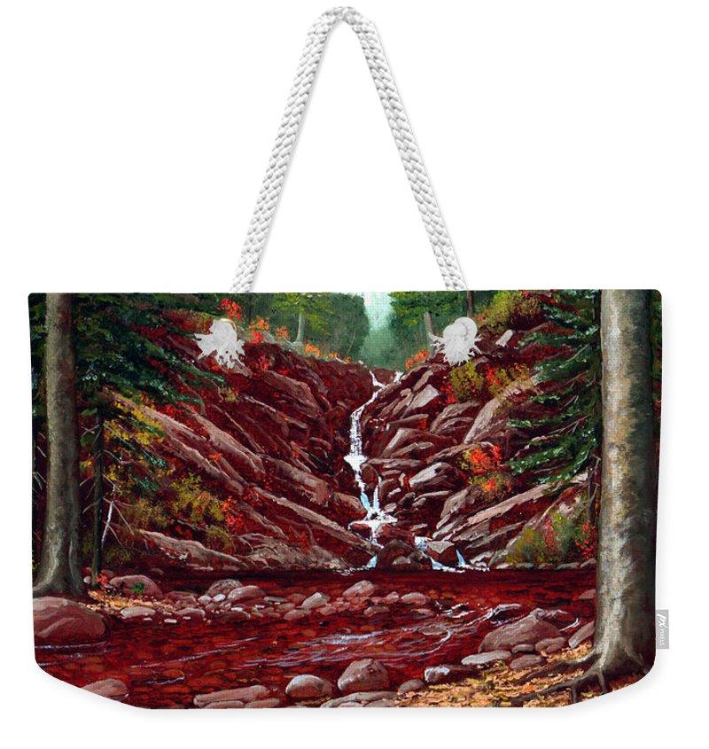 Frank Wilson Weekender Tote Bag featuring the painting Deepwoods Cascade by Frank Wilson