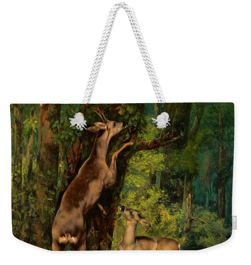 Deer In The Forest Weekender Tote Bag featuring the painting Deer In The Forest, 1868 by Gustave Courbet