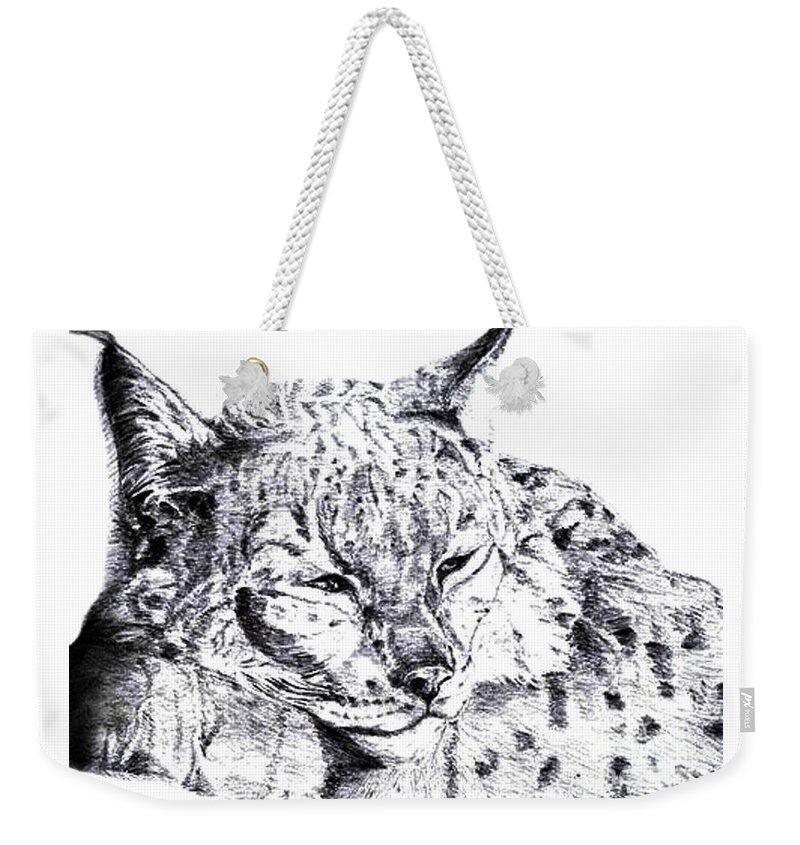 Deer Tiger Weekender Tote Bag featuring the drawing Deer Tiger by Nadi Sabirova