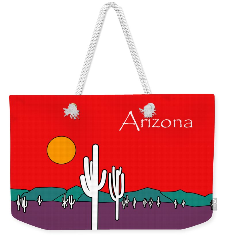 Desert Sunset Weekender Tote Bag featuring the painting Desert Sunset by Methune Hively