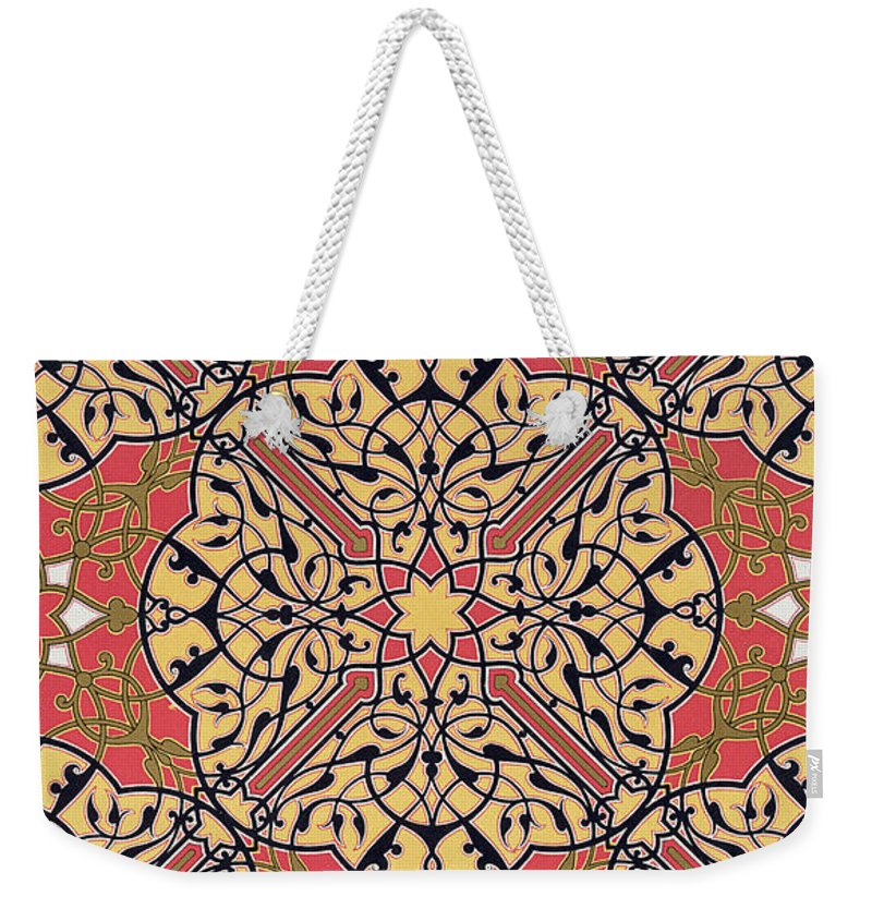 Design Weekender Tote Bag featuring the drawing Detail Of Ceiling Arabesques From The Mosque Of El-bordeyny by Emile Prisse d'Avennes