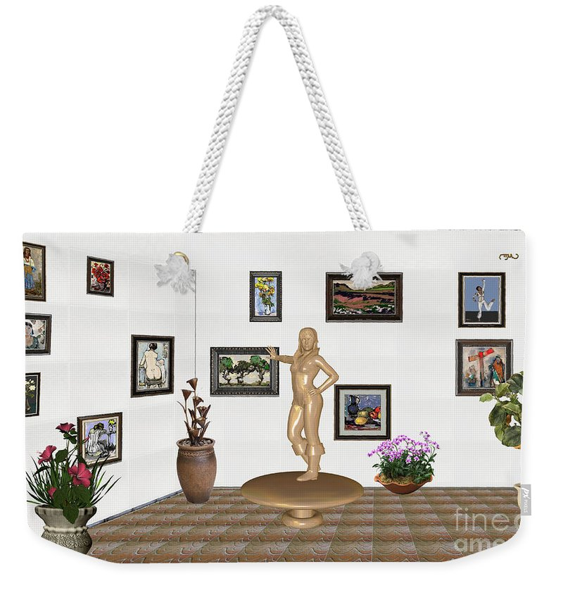 People Weekender Tote Bag featuring the mixed media digital exhibition _ Sculpture 13 of girl by Pemaro