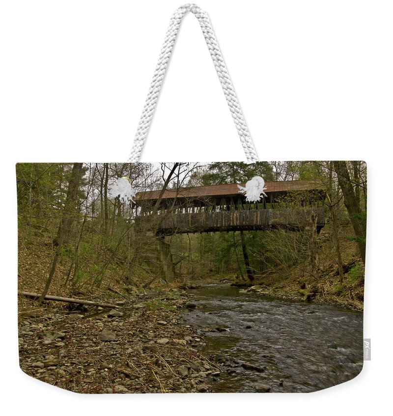 new England Covered Bridges Weekender Tote Bag featuring the photograph Dingleton Hill Bridge by Paul Mangold