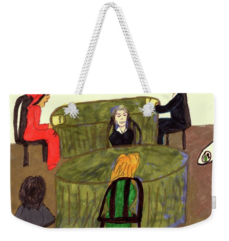 Ding In A Restaurant Weekender Tote Bag featuring the mixed media Restaurant Dining by Elinor Helen Rakowski