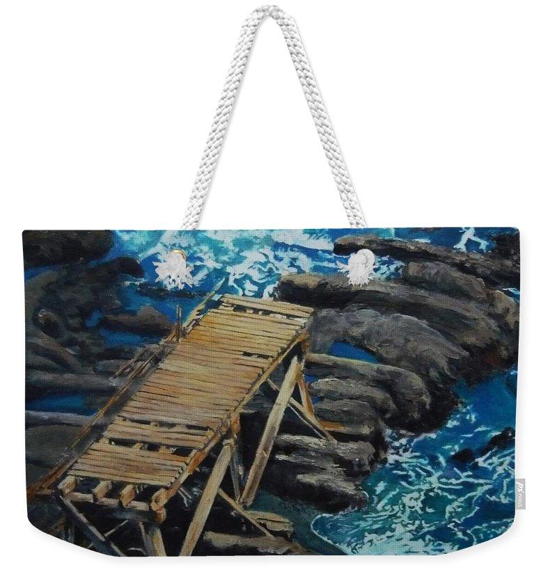 Dock Weekender Tote Bag featuring the painting Dock by Travis Day