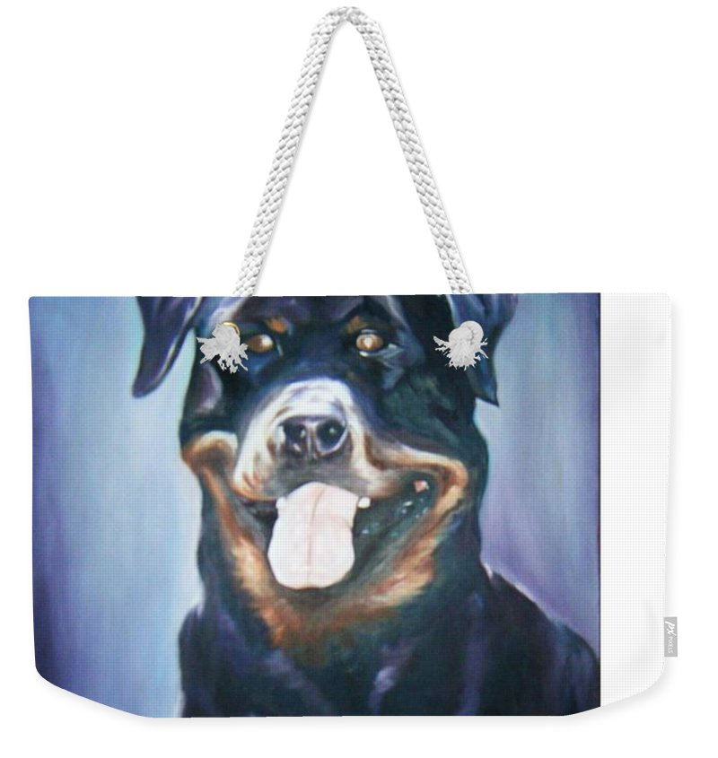 Dog Paintings Weekender Tote Bag featuring the painting Dog by Olaoluwa Smith