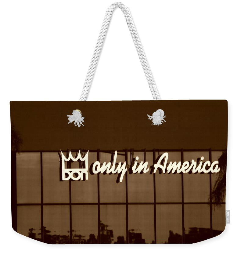Sepia Weekender Tote Bag featuring the photograph Don King Only In America by Rob Hans