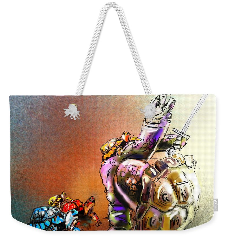 Turtle Painting Weekender Tote Bag featuring the digital art Don by Miki De Goodaboom