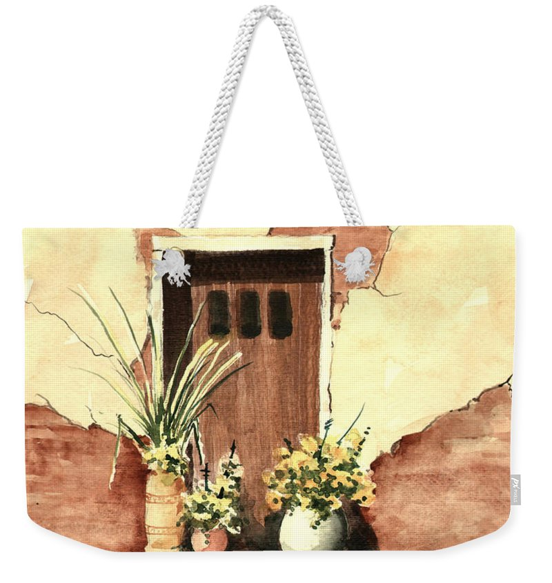 Door Weekender Tote Bag featuring the painting Door with Pots by Sam Sidders