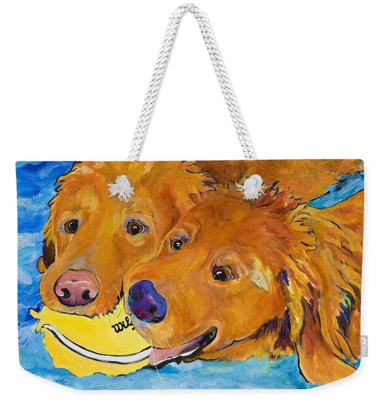 Golden Retriever Weekender Tote Bag featuring the painting Double Your Pleasure by Pat Saunders-White