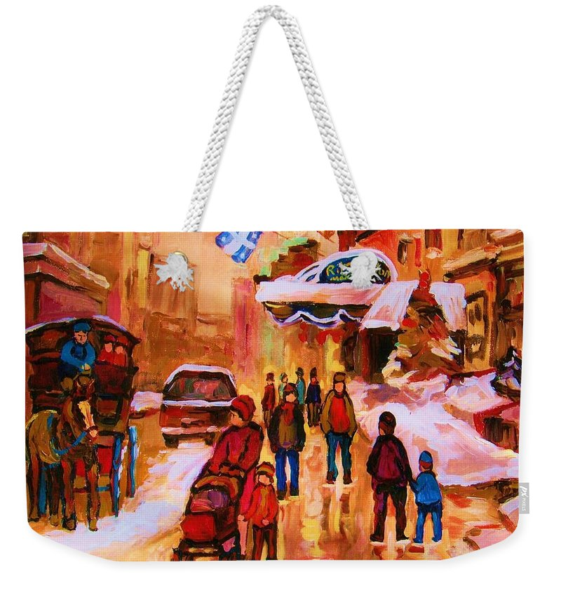 Downtown Montreal Weekender Tote Bag featuring the painting Downtown Montreal by Carole Spandau