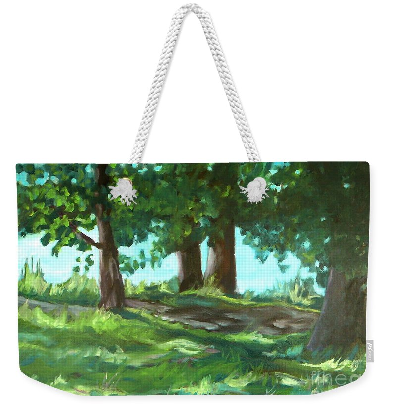 Expressionist Landscape Weekender Tote Bag featuring the painting Dreaming On Fellows Lake by Jan Bennicoff