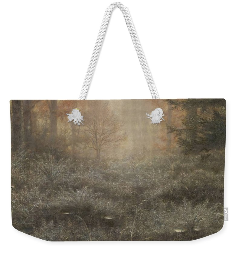Sir John Everett Millais Weekender Tote Bag featuring the painting Drenched Furze by John Everett Millais