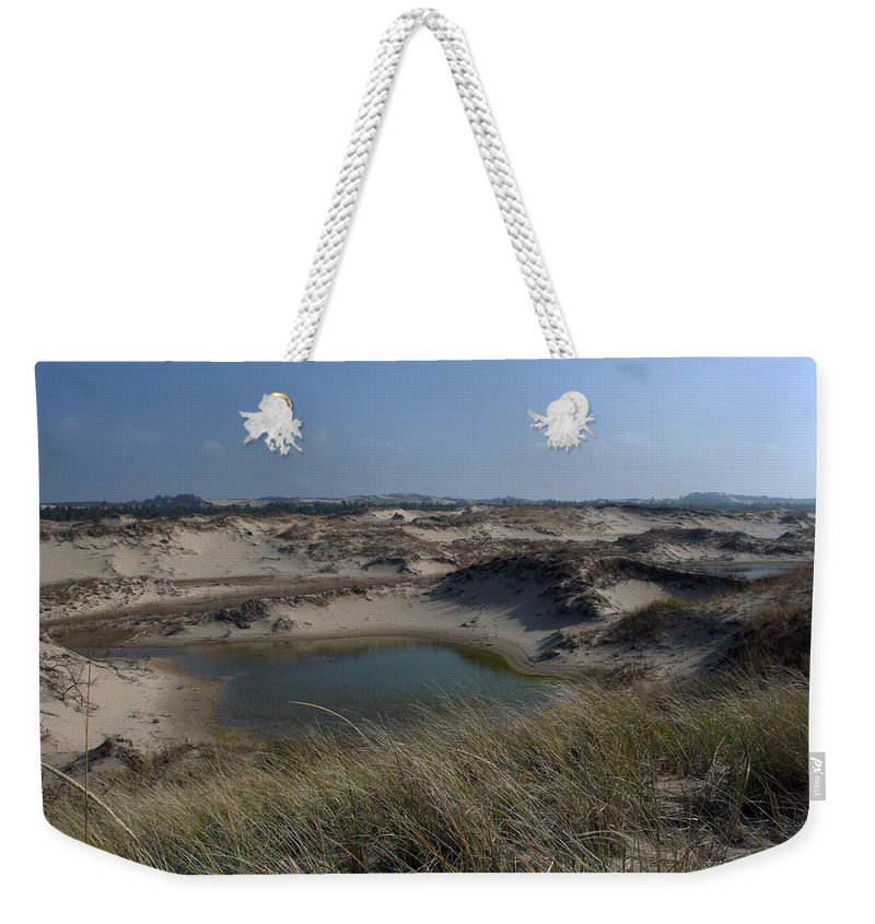 Ludington Weekender Tote Bag featuring the photograph Dune Scape by Linda Kerkau