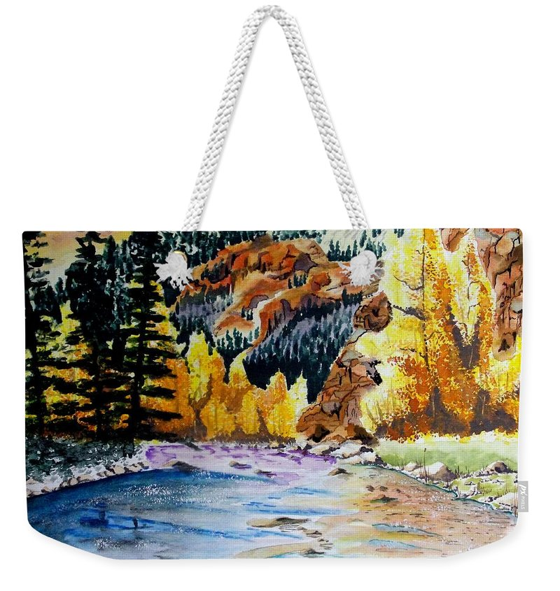 Creek Weekender Tote Bag featuring the painting East Clear Creek by Jimmy Smith