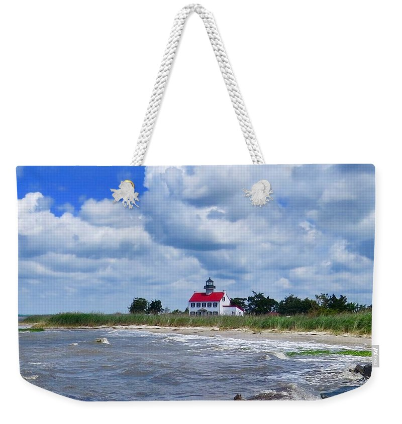East Point Lighthouse Weekender Tote Bag featuring the photograph East Point Lighthouse by Nancy Patterson
