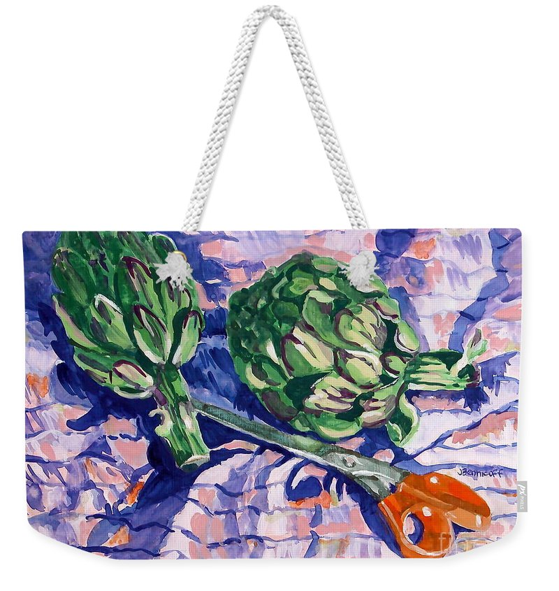 Greens Weekender Tote Bag featuring the painting Edible Flowers by Jan Bennicoff