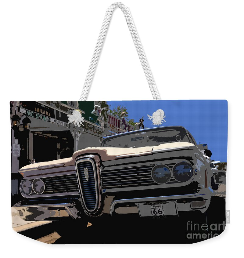 Route 66 Weekender Tote Bag featuring the painting Edsel On Route 66 by David Lee Thompson