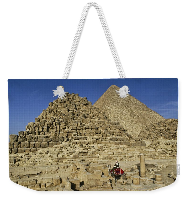 Egypt Weekender Tote Bag featuring the photograph Egypt's Pyramids Of Giza by Michele Burgess