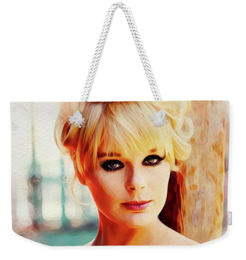 Elke Weekender Tote Bag featuring the painting Elke Sommer, Carry On Films Cast by John Springfield