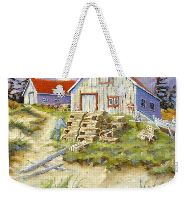 Art Weekender Tote Bag featuring the painting End Of Lobster Season by Richard T Pranke