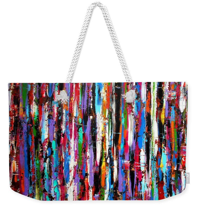 Energy Weekender Tote Bag featuring the painting Energy Large Work by Angie Wright