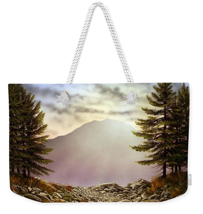 Mountains Weekender Tote Bag featuring the painting Evening Trail by Frank Wilson