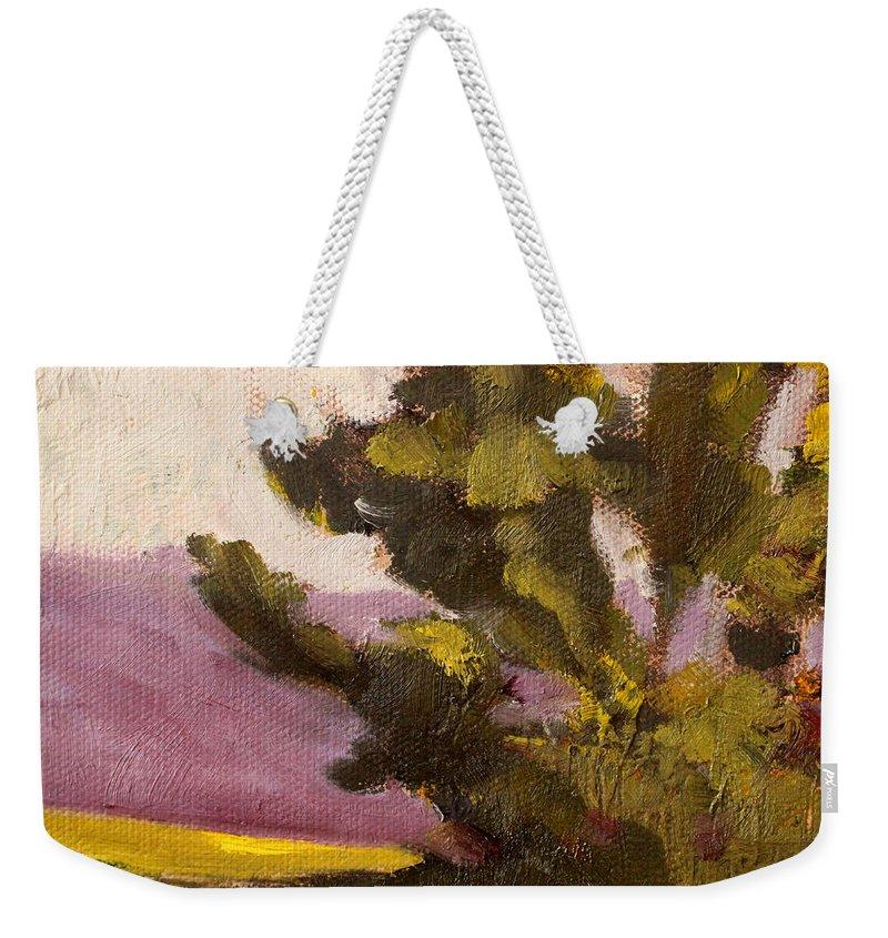 Oregon Landscape Weekender Tote Bag featuring the painting Evergreen by Nancy Merkle