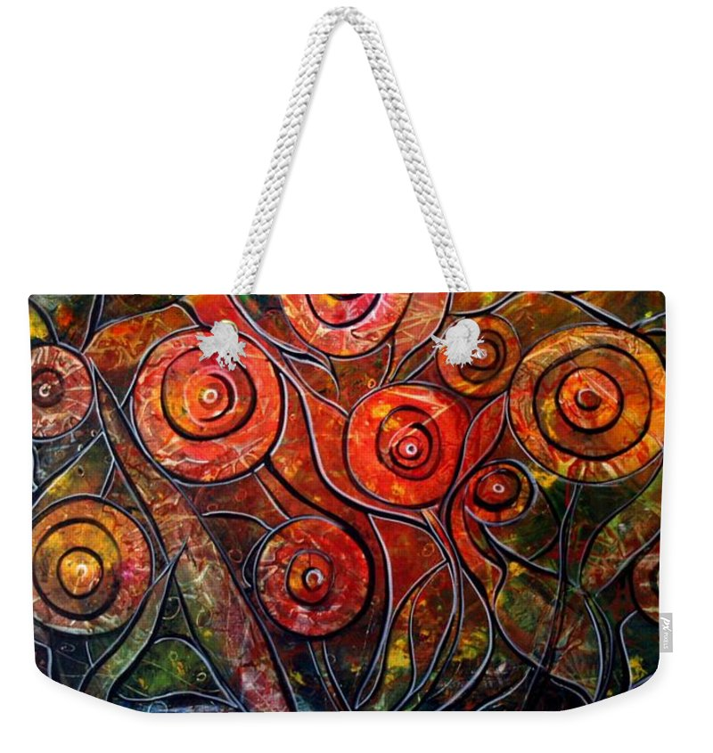 Exotic Weekender Tote Bag featuring the painting Exotic Foliage by Luiza Vizoli