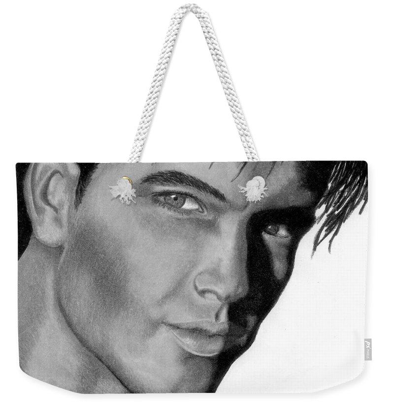 Male Weekender Tote Bag featuring the drawing Eyes by Kristen Wesch