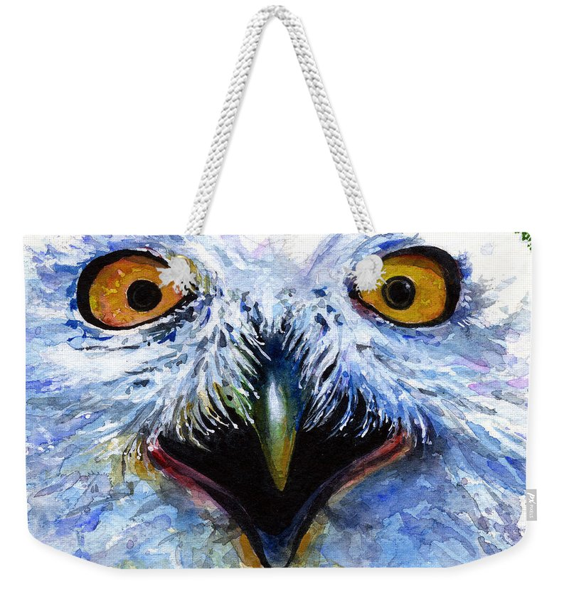 Eye Weekender Tote Bag featuring the painting Eyes Of Owls No. 15 by John D Benson