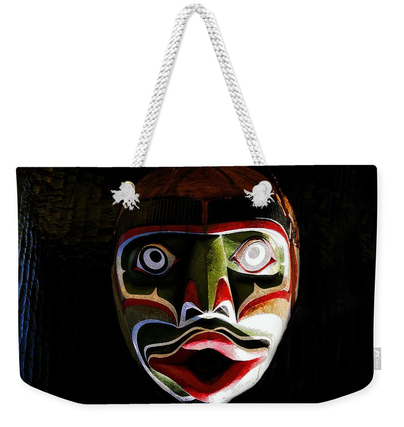 Totem.face Weekender Tote Bag featuring the painting Face Of Totem by David Lee Thompson