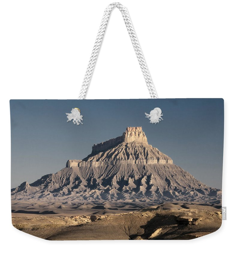 Sunrise Weekender Tote Bag featuring the photograph Factory Butte 0562 by Bob Neiman
