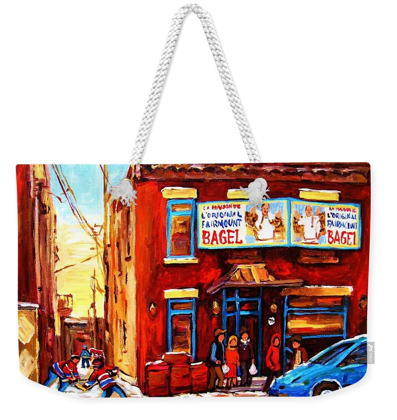 Hockey Weekender Tote Bag featuring the painting Fairmount Bagel In Winter by Carole Spandau