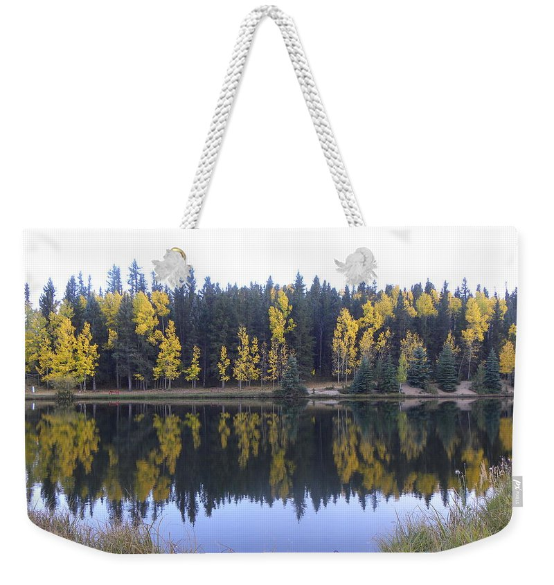 Fall Weekender Tote Bag featuring the photograph Potty Pond Reflection - Fall Colors Divide Co by Margarethe Binkley