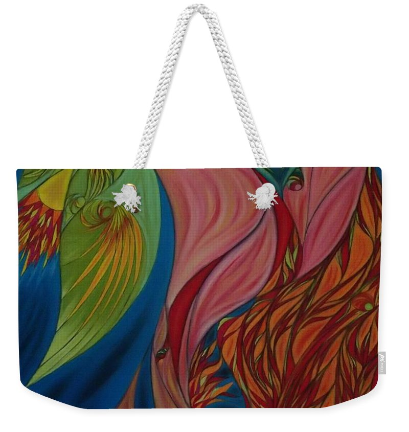 Pastel Weekender Tote Bag featuring the pastel Far Away Eyes by Robert Nickologianis