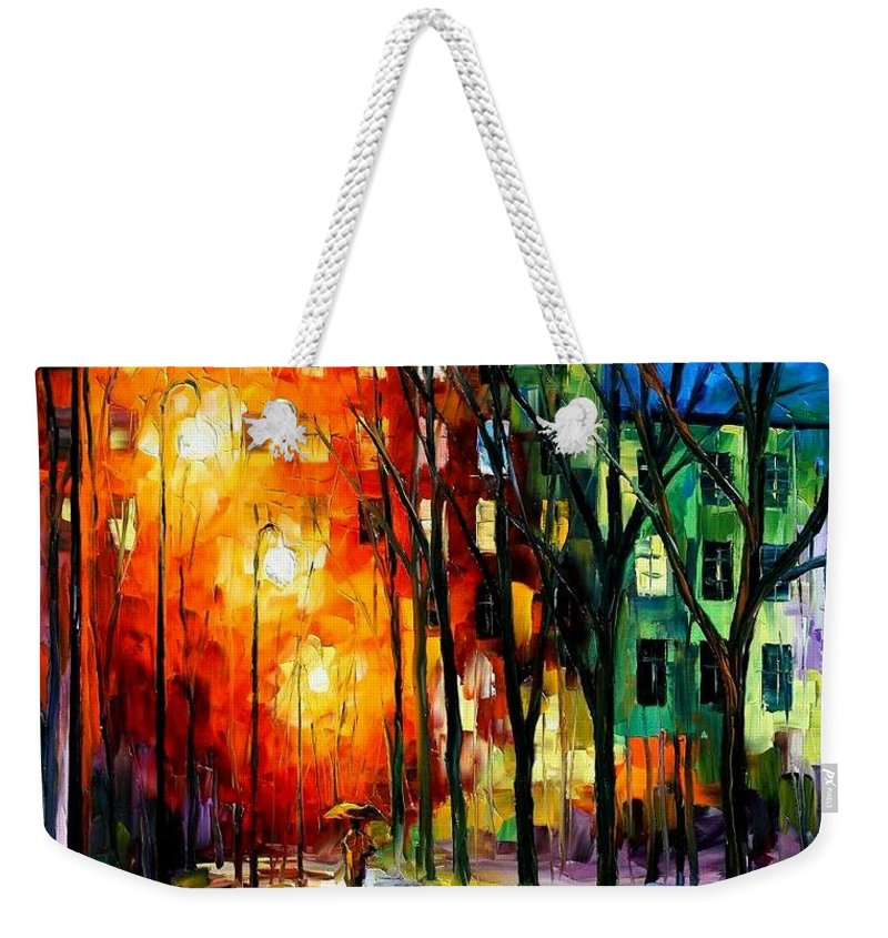 Afremov Weekender Tote Bag featuring the painting Farewell To Autumn by Leonid Afremov