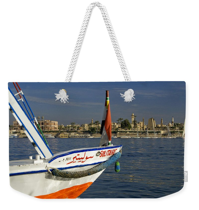 Egypt Weekender Tote Bag featuring the photograph Felucca On The Nile by Michele Burgess