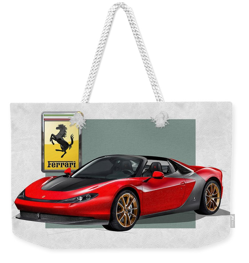 �ferrari� Collection By Serge Averbukh Weekender Tote Bag featuring the photograph Ferrari Sergio with 3D Badge by Serge Averbukh