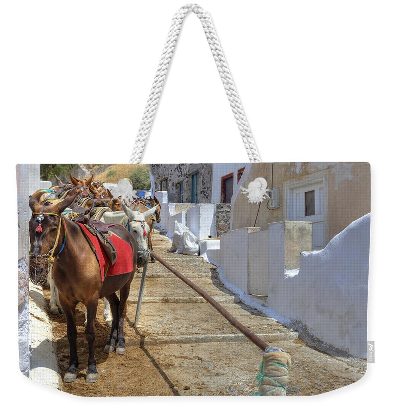 Fira Weekender Tote Bag featuring the photograph Fira - Santorini by Joana Kruse