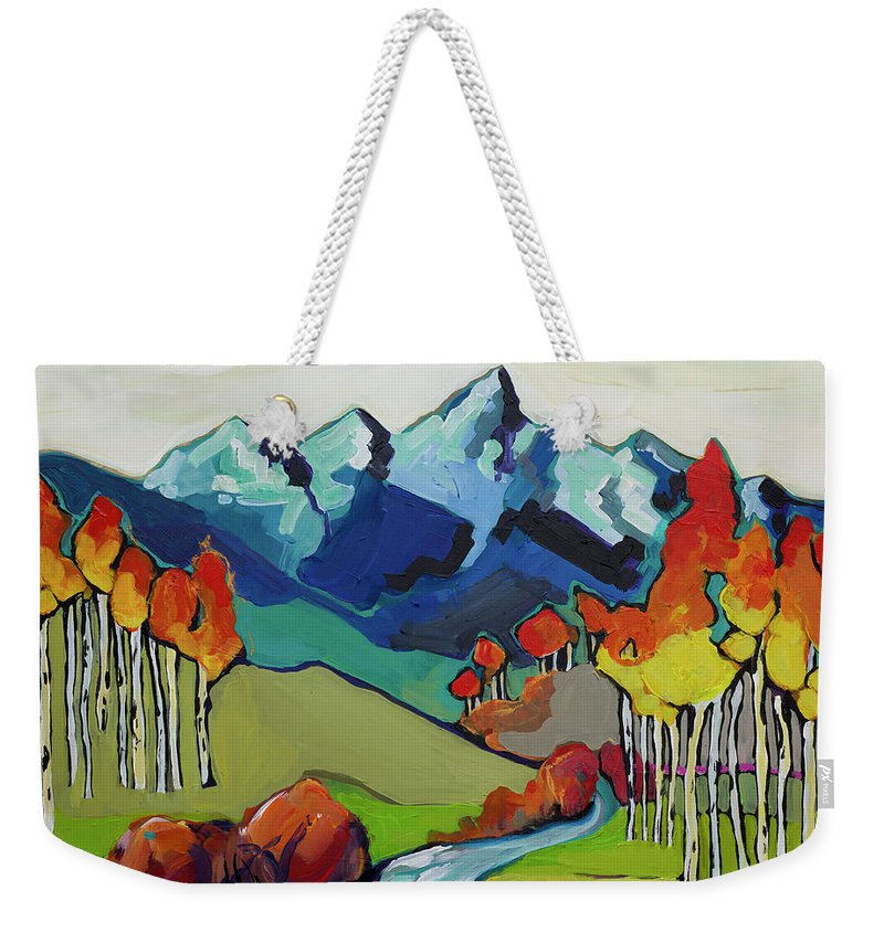 Grand Teton National Park Landscape Weekender Tote Bag featuring the painting Fire Aspens by Jessi West Lundeen