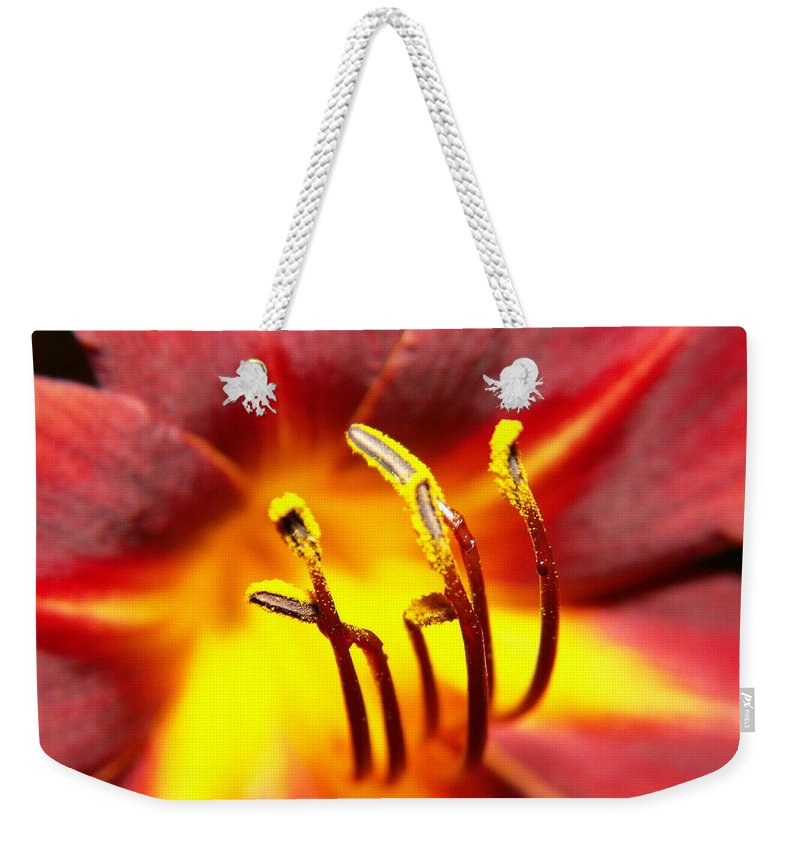 Flower Weekender Tote Bag featuring the photograph Fire Lily by Amy Fose