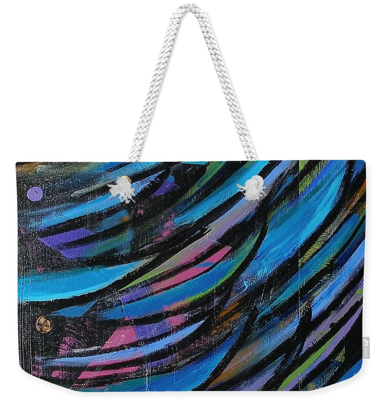 Blue Weekender Tote Bag featuring the painting Fireworks by Maria Bonnier-Perez