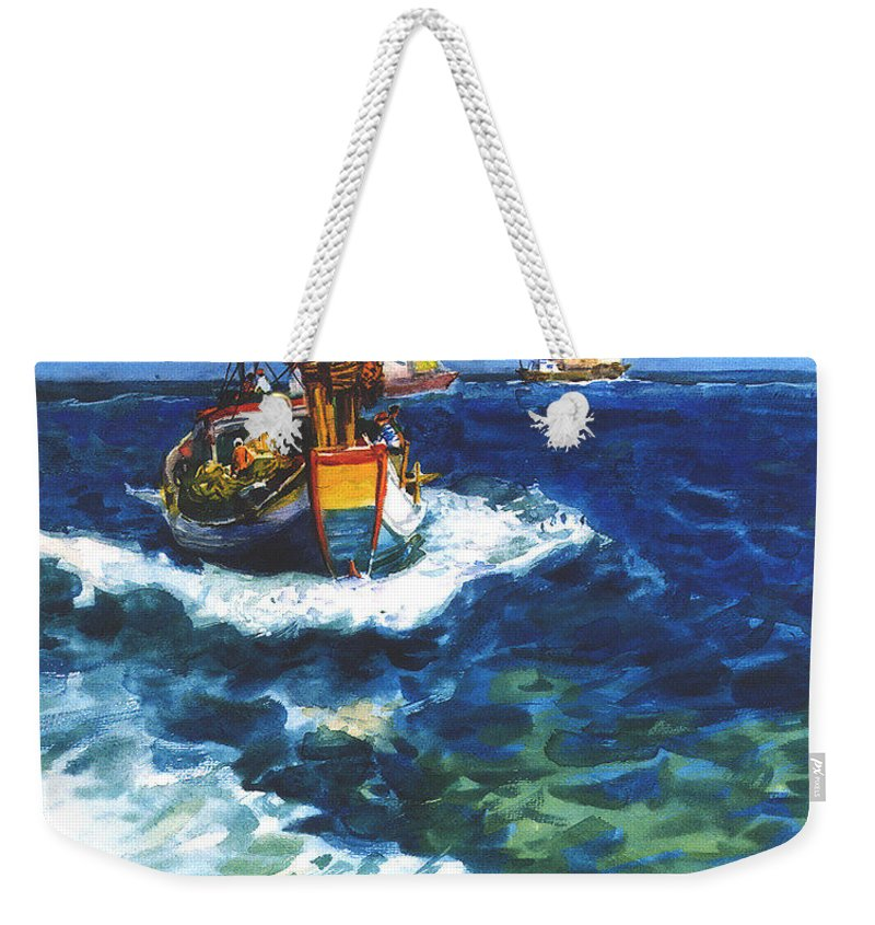Fishing Weekender Tote Bag featuring the painting Fishing boat by Guanyu Shi