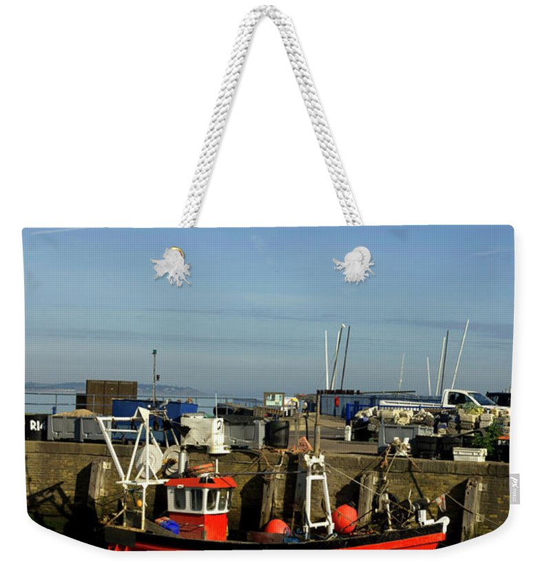 Fishing Weekender Tote Bag featuring the photograph Fishing Boats At Whitstable Harbour 02 by Chris Laurens