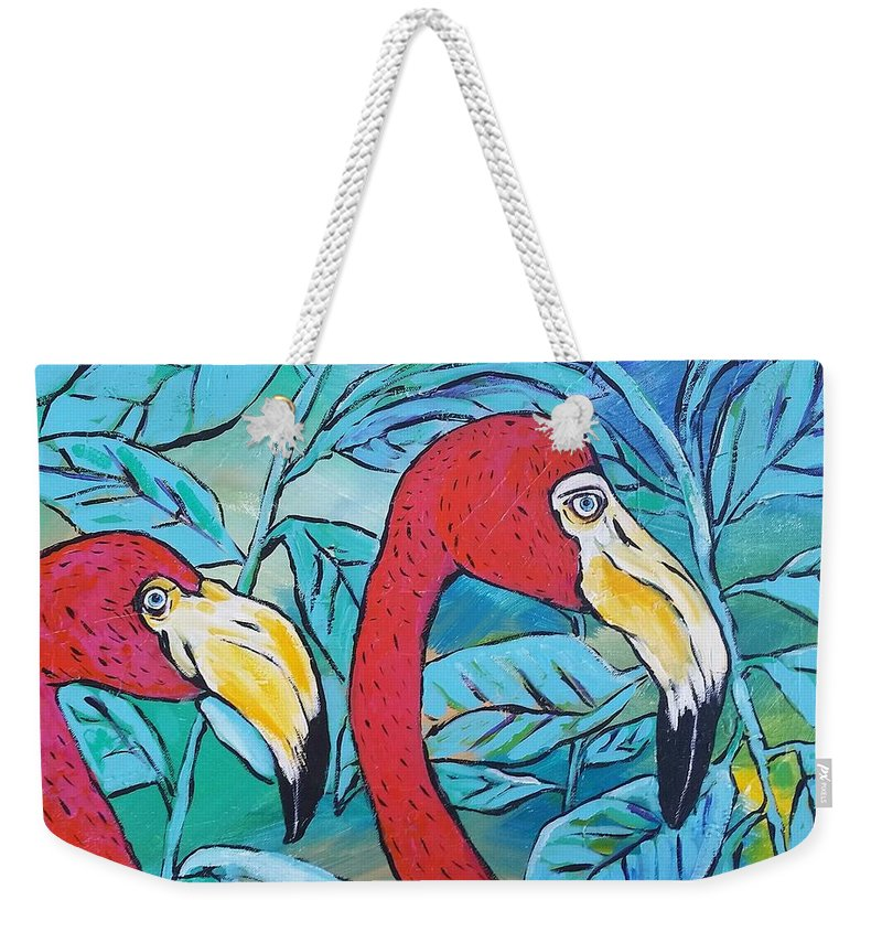 Flamingos Weekender Tote Bag featuring the painting Flamingos by Arrin Burgand