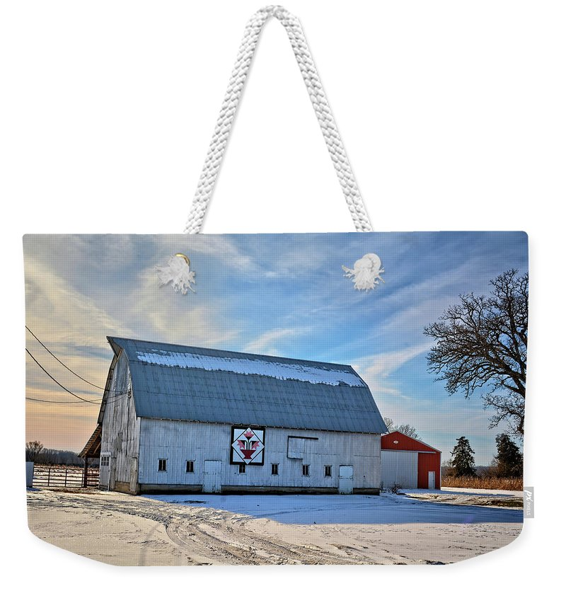 Barn Weekender Tote Bag featuring the photograph Flower Pot Barn by Bonfire Photography