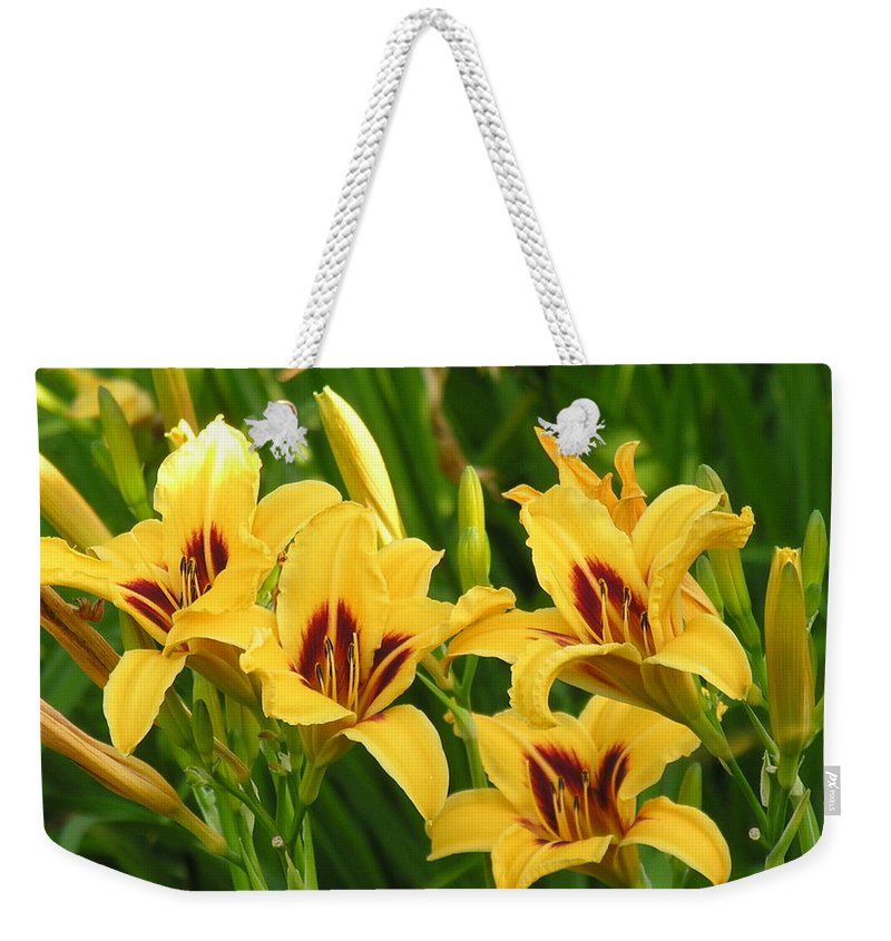 Yello Weekender Tote Bag featuring the photograph Flowers by Diane Greco-Lesser