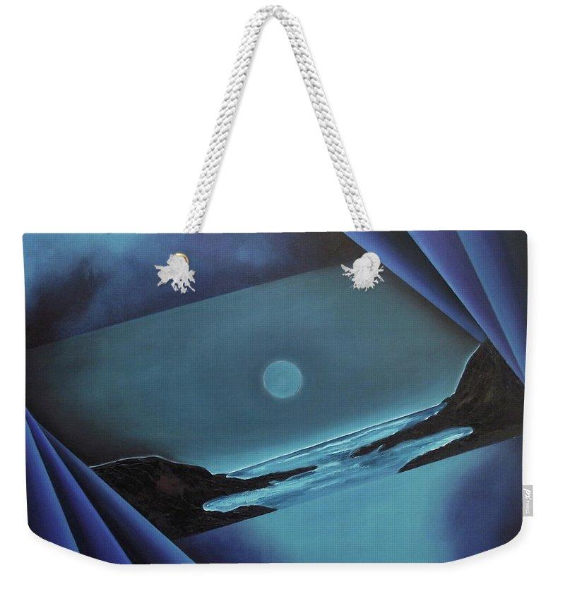 Weekender Tote Bag featuring the painting Flowing Through by Ara Elena